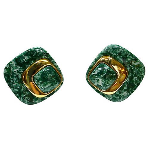 1960s Modernist Marbleized Earrings