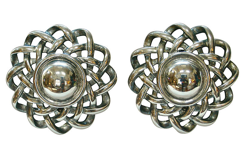 Givenchy Oversize Woven Silver Earrings