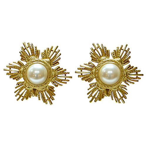 Givenchy Sunburst Glass Pearl Earrings