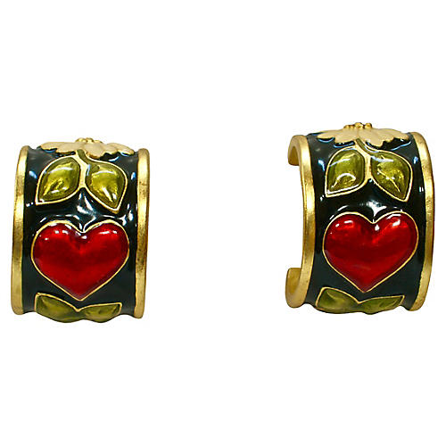 Karl Lagerfeld Heart & Floral Earrings