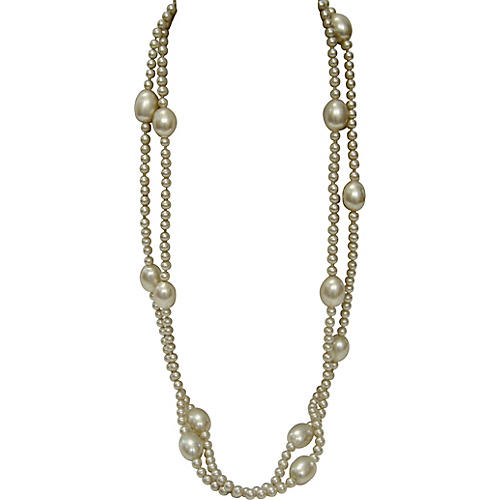 1970s Opera-Length Faux-Pearl Necklace
