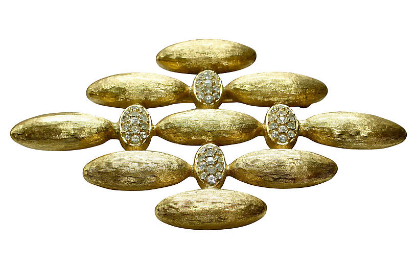 Givenchy Oversize Crystal Gold Brooch