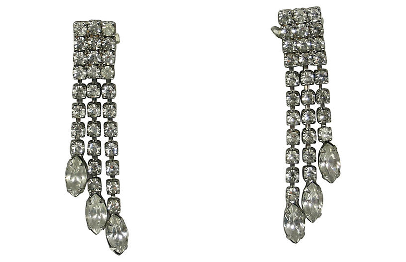 1960s Crystal Triple-Drop Earrings