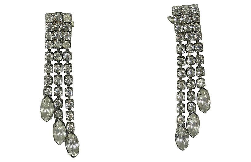 1960s Crystal Triple-Drop Earrings
