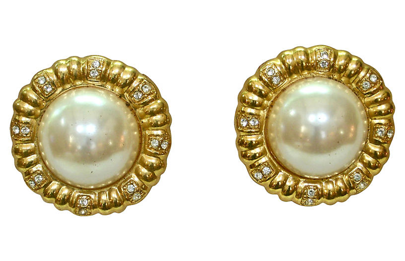 Givenchy Pearl & Crystal Earrings