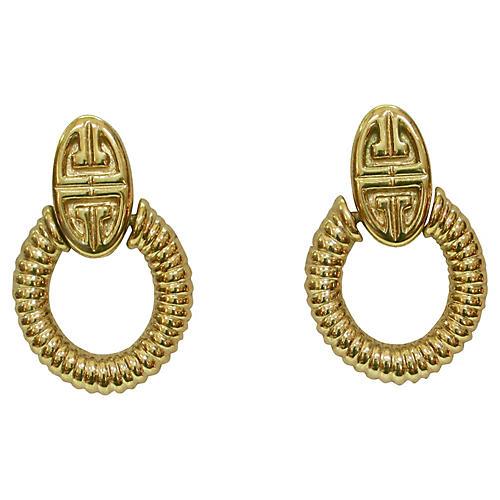 1980s Givenchy Gold Knocker Earrings