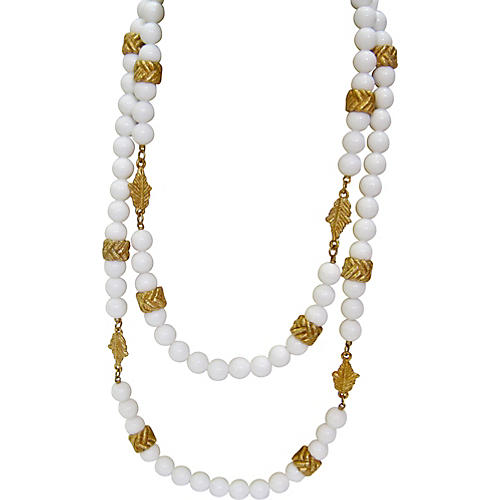 Milk Glass & Gold Beaded Necklace