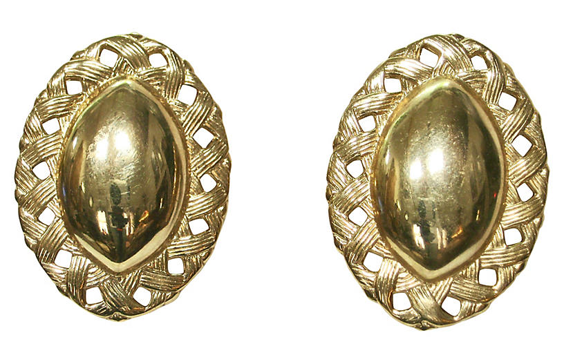 Givenchy Gold Carved Shield Earrings