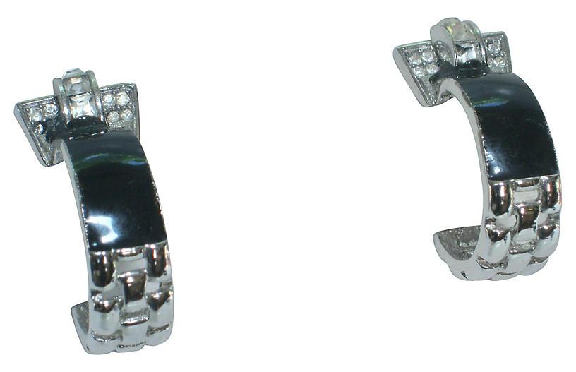 Givenchy Black Enamel Crystal Earrings