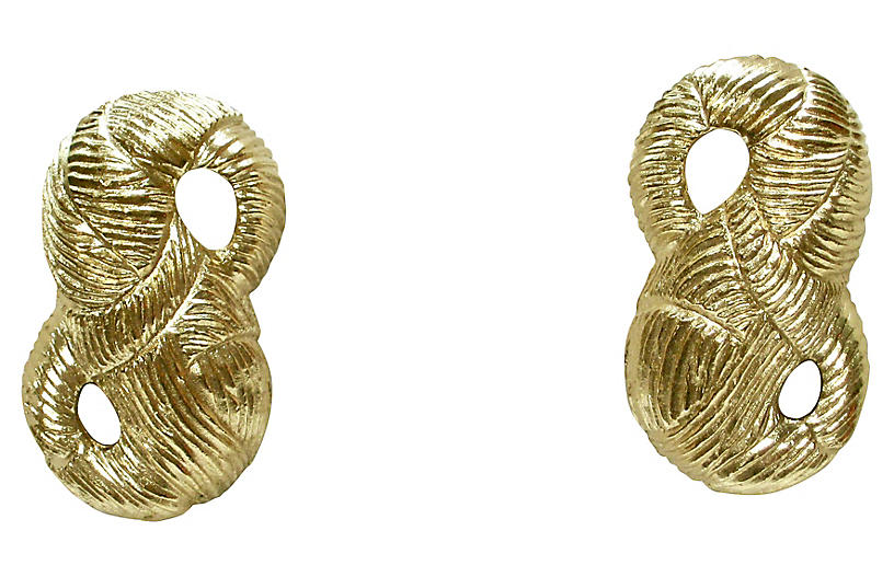 1980s Givenchy Bow Gold Earrings