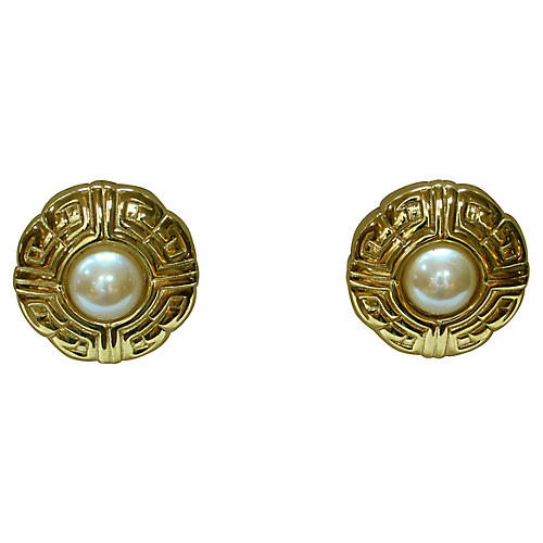 1980s Givenchy Carved Pearl Earrings