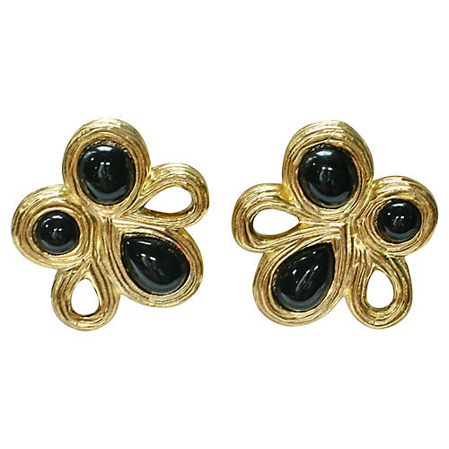 1980s Givenchy Glass Onyx Gold Earrings