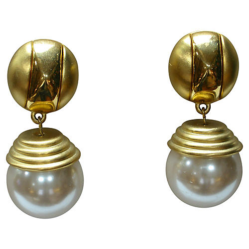 Grivenchy Glass Drop Pearl Gold Earrings