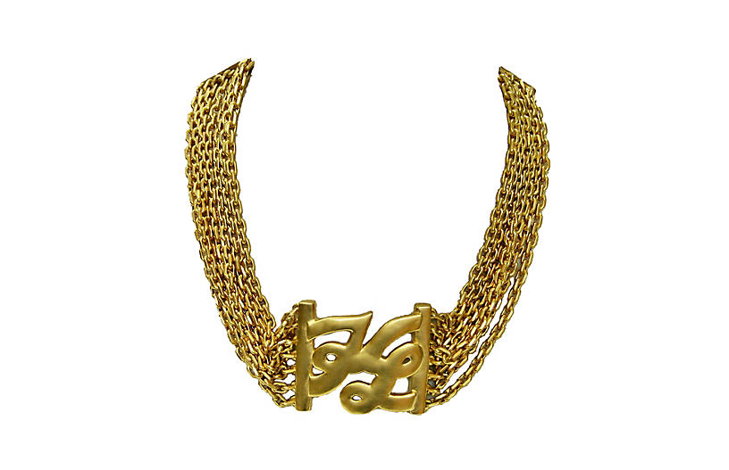Karl Lagerfeld Multi Chain Logo Necklace
