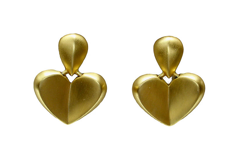 1980s Givenchy Brushed Gold Earrings