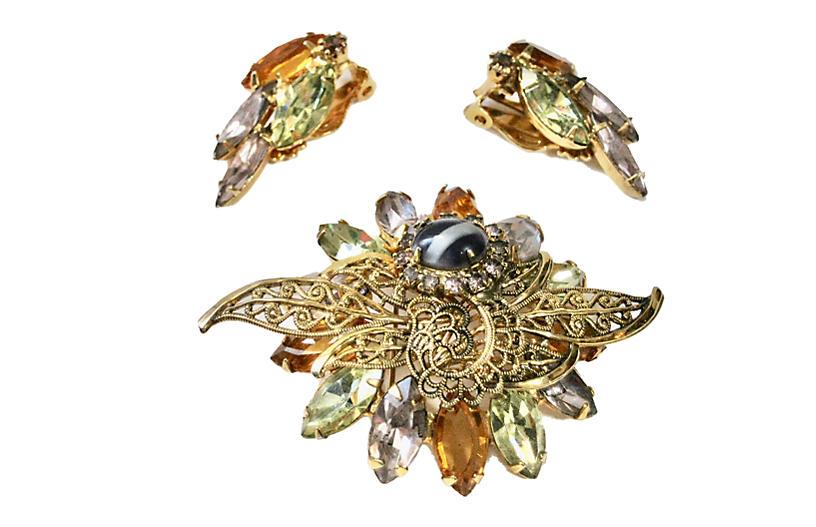 1950s Filigree Crystal Brooch & Earrings