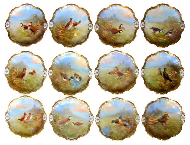 Limoges Game Plates, Set of 12