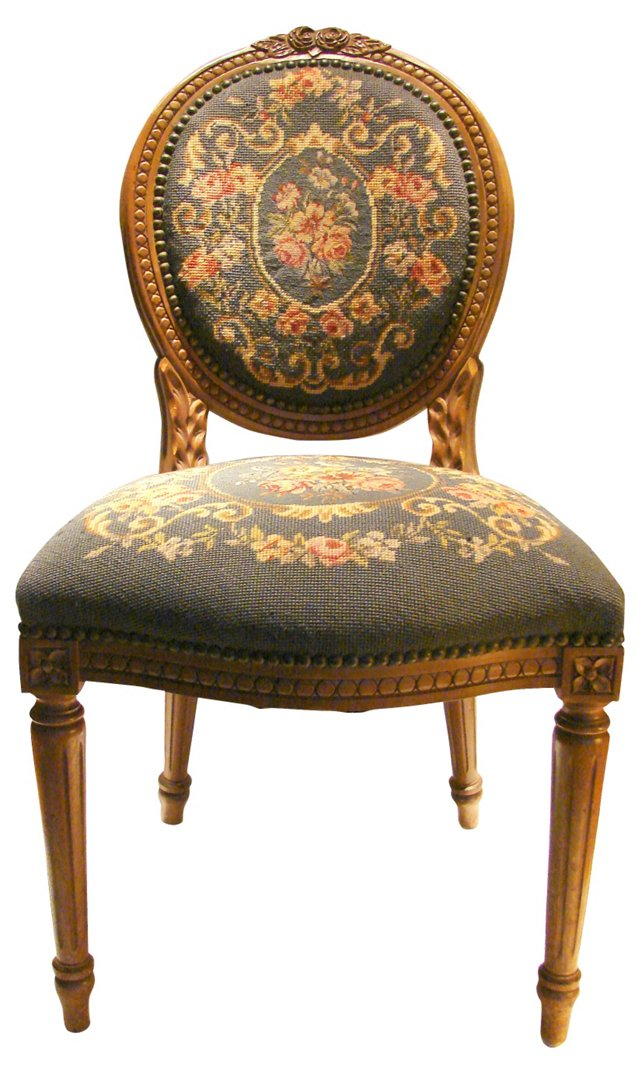 Hand-Carved Chair w/ Needlepoint