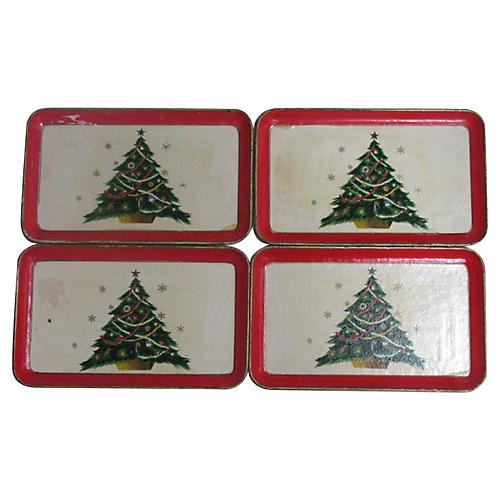 Lacquer Christmas Tree Trays, S/4
