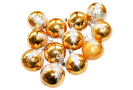 Gold Glitter Ornaments, S/12