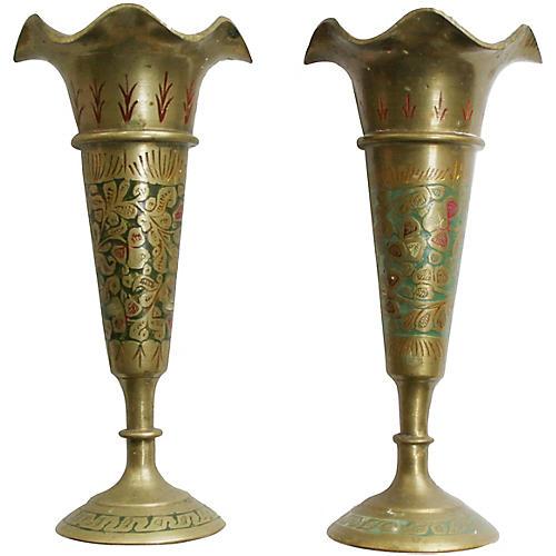 Enameled Brass Candleholders, Pair
