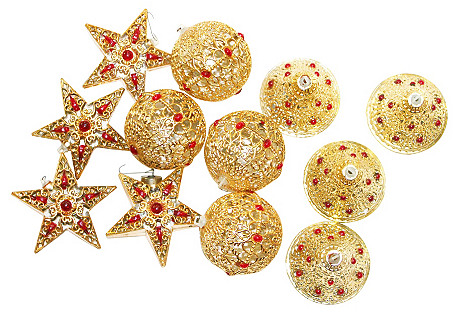 Italian Beaded Ornaments, S/12