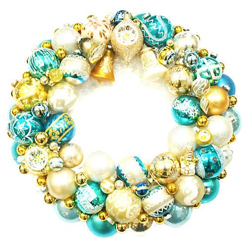 Blue & Gold Glass Ornament Wreath