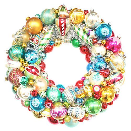 Glass Ornament Wreath