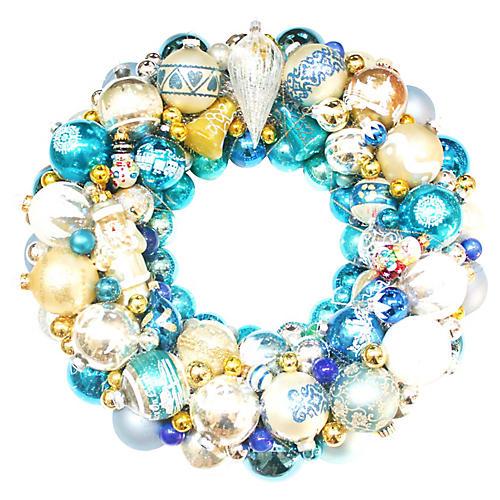 Blue Santa Ornament Wreath