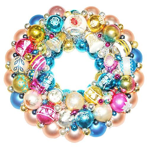 Blue & Pink Ornament Wreath