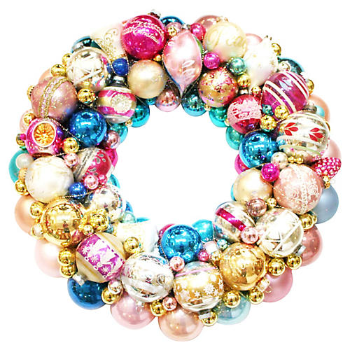 Pink & Blue Ornament Wreath
