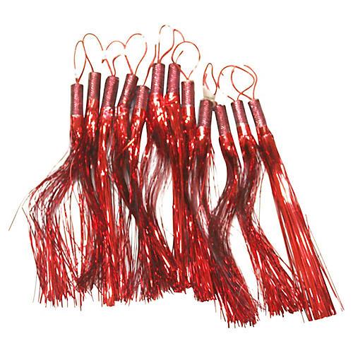 Tinsel Tassel Ornaments, S/12
