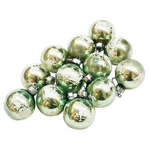 Stenciled Glass Ornaments, S/12