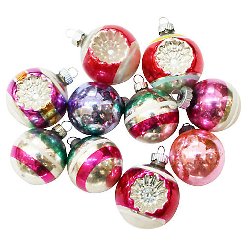 Shiny Brite Ornaments, S/10
