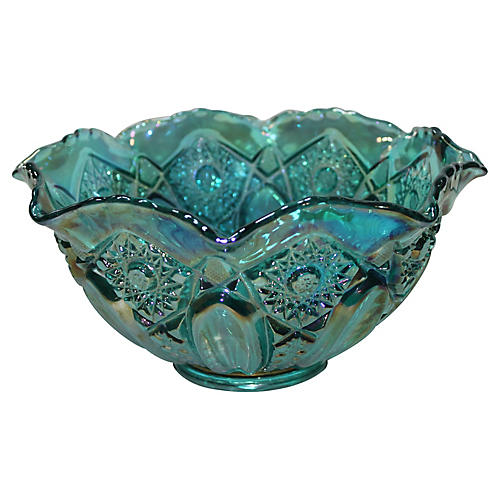 Opalescent Aqua Glass Bowl