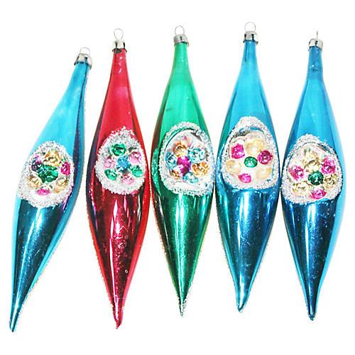 Indent Teardrop Ornaments, S/5