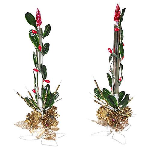 Mercury Glass Candlesticks, S/2