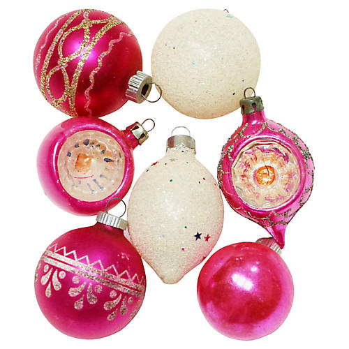 Pink Glitter Ornaments, S/7