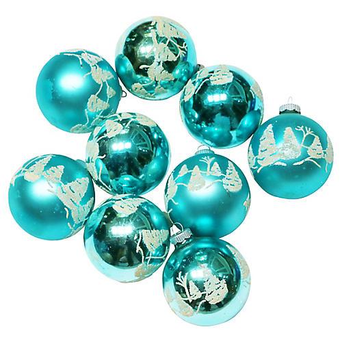 Shiny Brite Ornaments, S/9