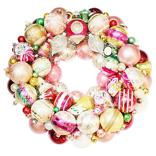 Pink & Gold Ornament Wreath