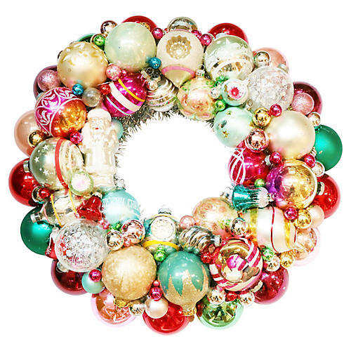 Glass Santa Wreath