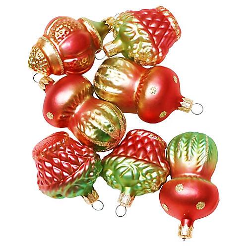 Mushroom Glass Ornaments, S/7