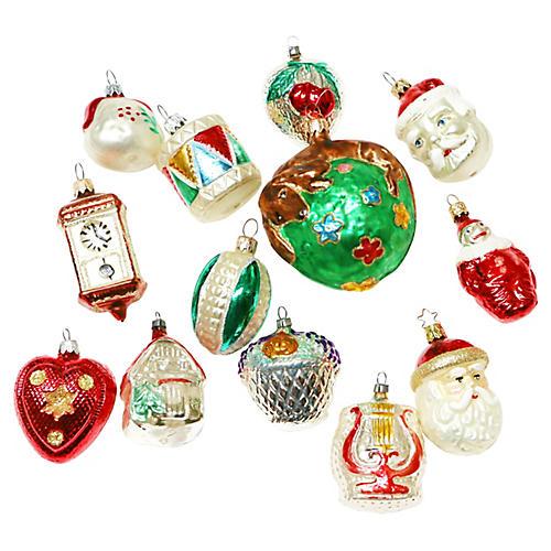Glass Santa Ornaments, S/13