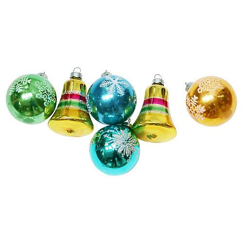 Glitter Ornaments, S/6