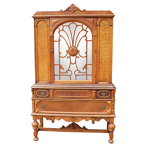 Jacobean-Style Burl Wood China Cabinet