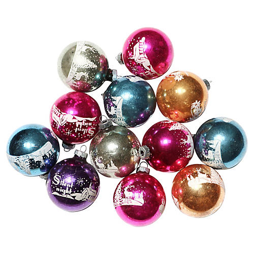 Shiny Brite Stencil Ornaments, S/12