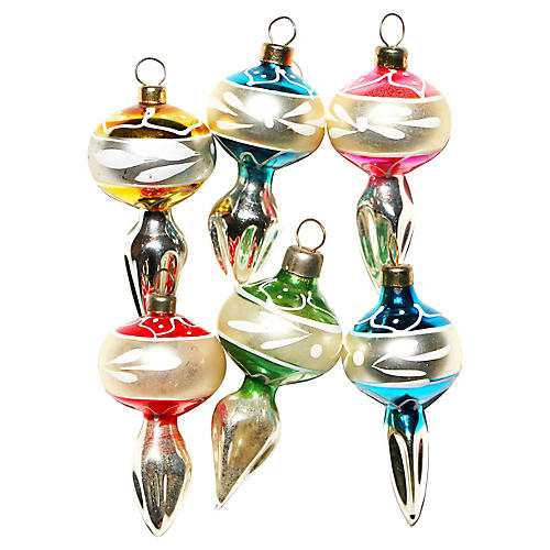 Teardrop Glass Ornaments, S/6
