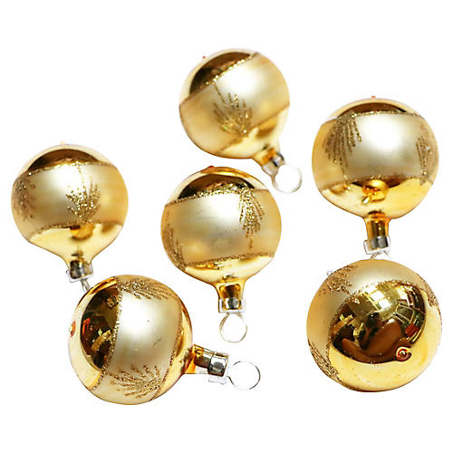 Gold Round Ornaments, S/6