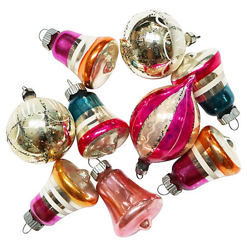 Stripes & Bells Ornaments, S/9