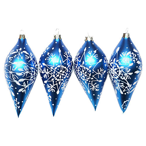 Blue Glass Ornaments, S/4